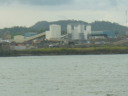 Bulk storage & mixing plant - viewed from the canal.